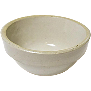 Tiny Vintage White Bristol Glazed Stoneware Mixing Bowl - White Hall Illinois