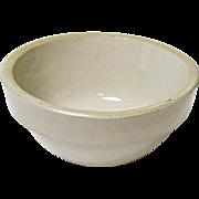 Tiny Vintage White Bristol Glazed Stoneware Mixing Bowl - White Hall Illinois