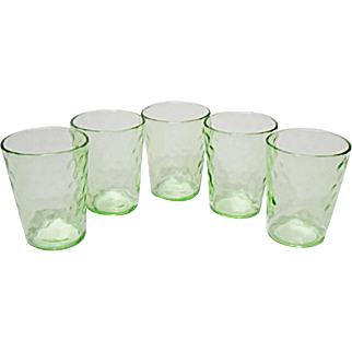 Five Very Vintage Federal Glass - Raindrops - Pebble Optic Whiskey Shot Tumblers  1920's - 1930's