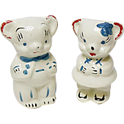 Vintage American Bisque Boy and Girl Bear Salt and Pepper Shaker Set