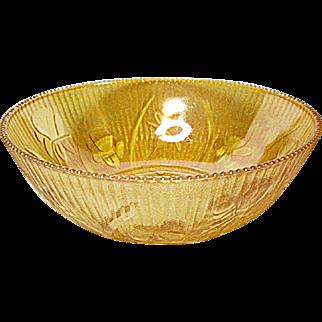 "Vintage Jeannette Glass Iris and Herringbone 8"" Iridescent Marigold Berry Bowl"