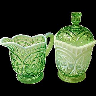 Dugan Circled Scrolls Cream and Sugar Opalescent Green Ca. 1903