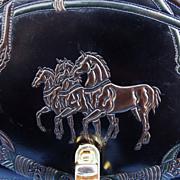 Italian Tooled Horses & Horse Tack Leather Shoulder Hand Bag