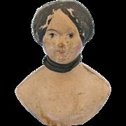 Antique Milliners Model Papier Mache Blue Eyed Doll Head