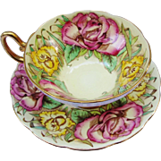 Taylor & Kent Longton Footed Floral Tea Cup & Saucer With Roses