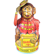 Vintage Lithographed Tin Bank Mechanical Monkey Tipping Hat American J. Chein Company