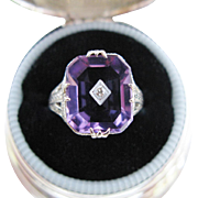 Vintage Art Deco Ring Amethyst Diamond Filigree White Gold