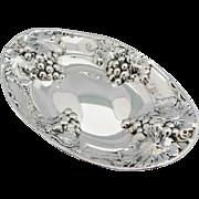 Vintage Birks Bowl Sterling Silver Repousse Grapes Oval Centerpiece