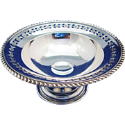 Vintage Ellis Birks Compote 1935 Sterling Silver Footed Dish With Pierced Floral Border And Gadroon Edge