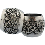 Vintage Chased Napkin Rings Pair Sterling Silver Ornate Floral Repousse Serviette Holders