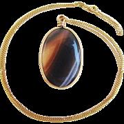 Vintage Banded Agate Pendant 10 Kt Gold Chain Necklace