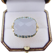 Vintage Cocktail Ring Diamond Aquamarine Quartz 14 Kt Gold Thailand Size 9