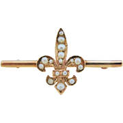 Antique Bar Pin Fleur de Lis 10K Gold With Seed Pearls Brooch