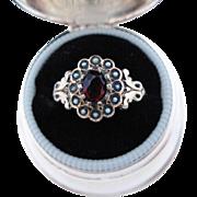 Antique Victorian Ring Seed Pearls Garnet Paste 9K Gold