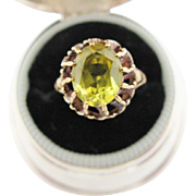 Vintage Gold Ring With Yellow Green Center Stone 10K Yellow Gold