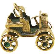 Antique Articulated Car Charm 18K Gold 3D Automobile Charm With Movable Wheels Emerald