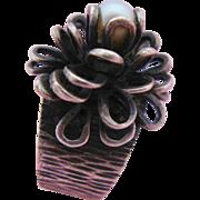 Sterling Silver Pearl Ring Unusual Modernist Three Dimensional Flower