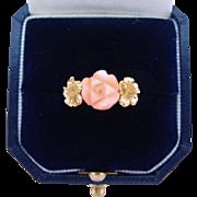 Vintage Coral Ring Carved Angel Skin Rose 14K Gold Hibiscus Flowers Signed Kamm Size 6