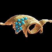 Vintage Turquoise Brooch 14K Gold Elegant 3D Swirls
