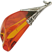 Vintage Amber Pendant Huge Orange Baltic Amber Sterling Silver Signed JB