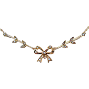 Antique Victorian Lavaliere Delicate 10K Gold Seed Pearl Bow Ribbon Necklace