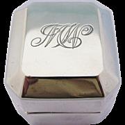 Antique Birks Ring Box Sterling Silver MW Monogram