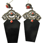 Vintage Pierced Earrings Stunning Sterling Silver Marcasite Faux Coral and Onyx