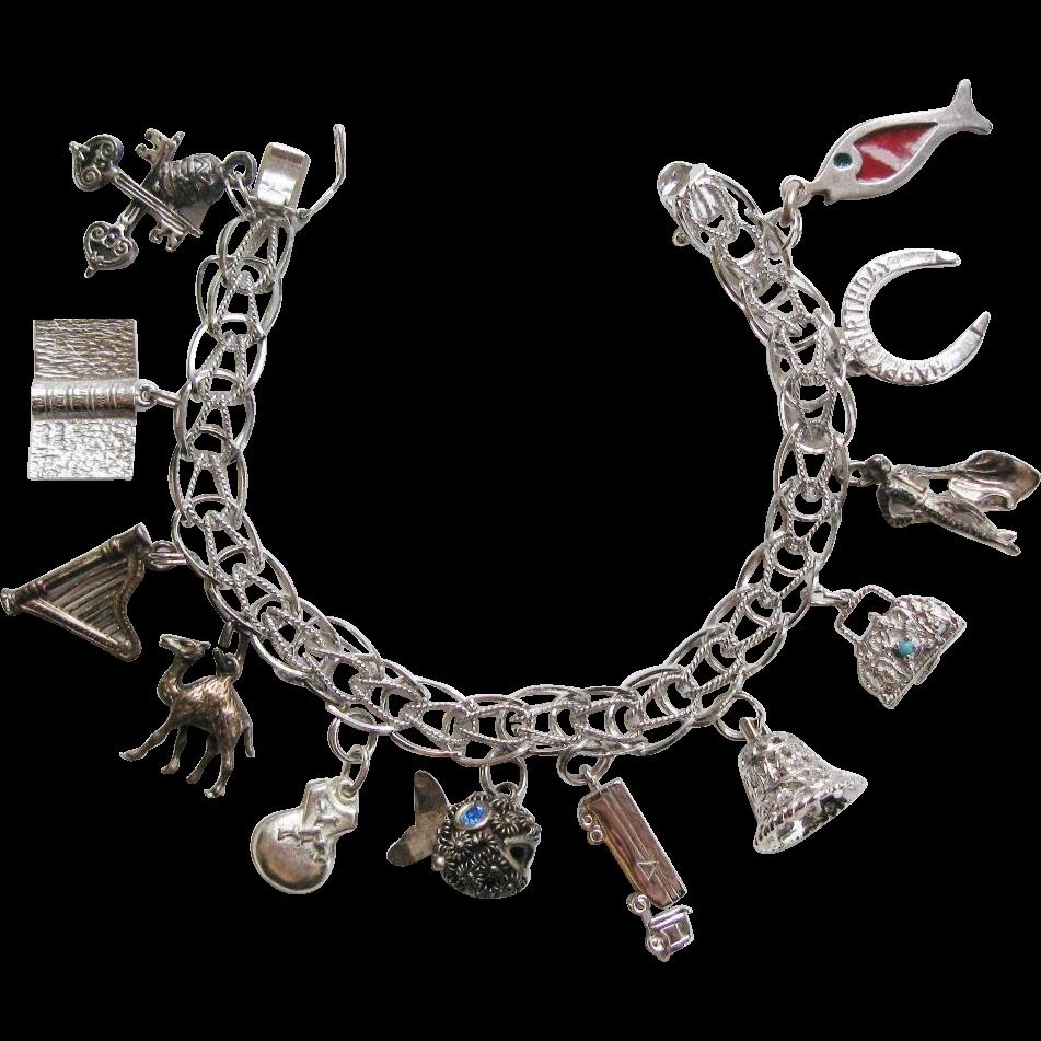 Vintage Loaded Charm Bracelet Sterling Silver Including Twelve Charms