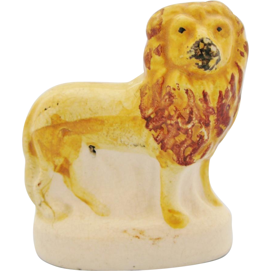 Antique Staffordshire Lion 19th Century Victorian Miniature Standing Lion