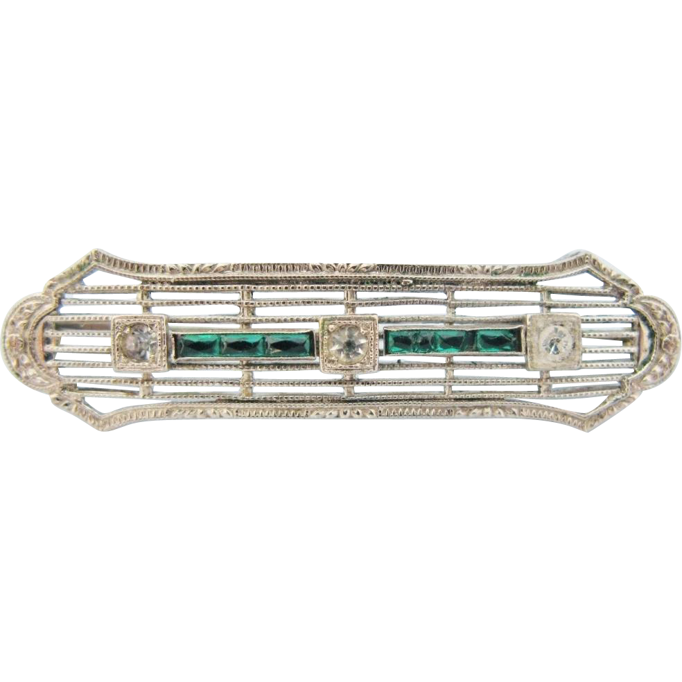 Art Deco Brooch American 10 K White Gold Filigree Vintage Bar Pin With Faux Diamonds Emeralds