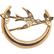 Antique Victorian Brooch Gold Seed Pearl Crescent Moon With Swallow Bird Flowers Pin