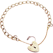 Vintage Charm Bracelet 9K Gold Twisted Link Heart Padlock Clasp Hallmarked London 1960