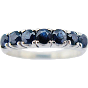 Vintage Semi Eternity Ring Blue Sapphire 10K White Gold Size 7