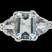 Vintage Aquamarine Ring 14 Karat White Gold Size 8