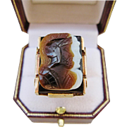 Mens Cameo Ring 10 Karat Gold Classic Double Warrior Carved Hardstone Large