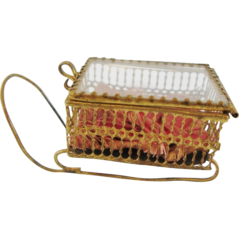 Antique Trinket Jewelry Box Glass And Open Work Metal Sleigh