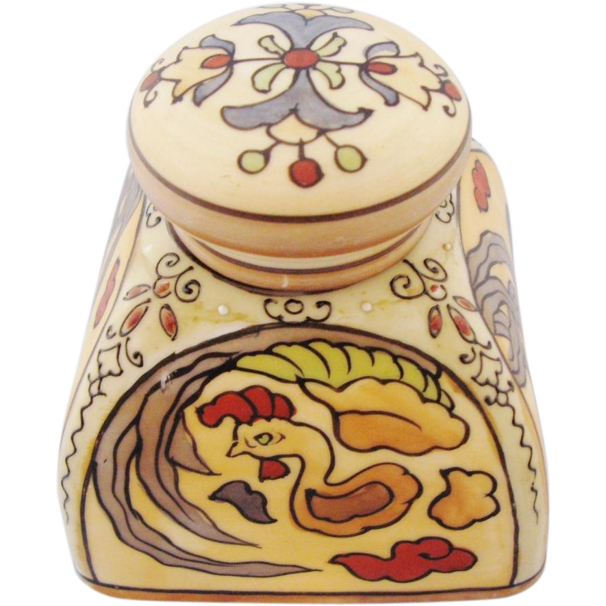 Vintage Nippon Inkwell Hand Painted Folk Art Floral And Rooster Motif