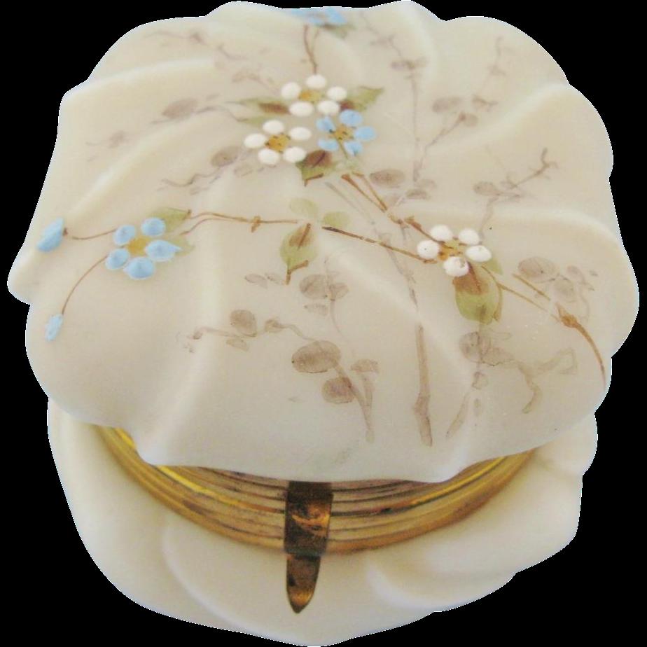 Antique Wavecrest Hand Painted Floral Dresser Jar Box