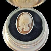 Vintage Cameo Ring Athena Mythological Carved Shell Cameo 10 Karat White Gold Size 6