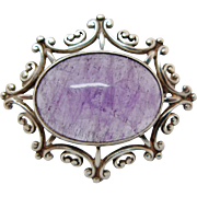 Vintage Amethyst Brooch Hallmarked Scottish Sterling Silver Cabochon