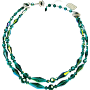 Sherman Beaded Necklace Teal Aurora Borealis Double Strand Vintage Choker With Hand Tag