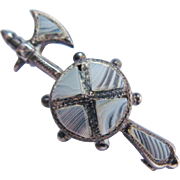 Antique Victorian Brooch Montrose Agate Small Hallmarked Birmingham Sterling Silver Halberd And Shield Tie Lapel Scatter Pin Or Doll Accessory