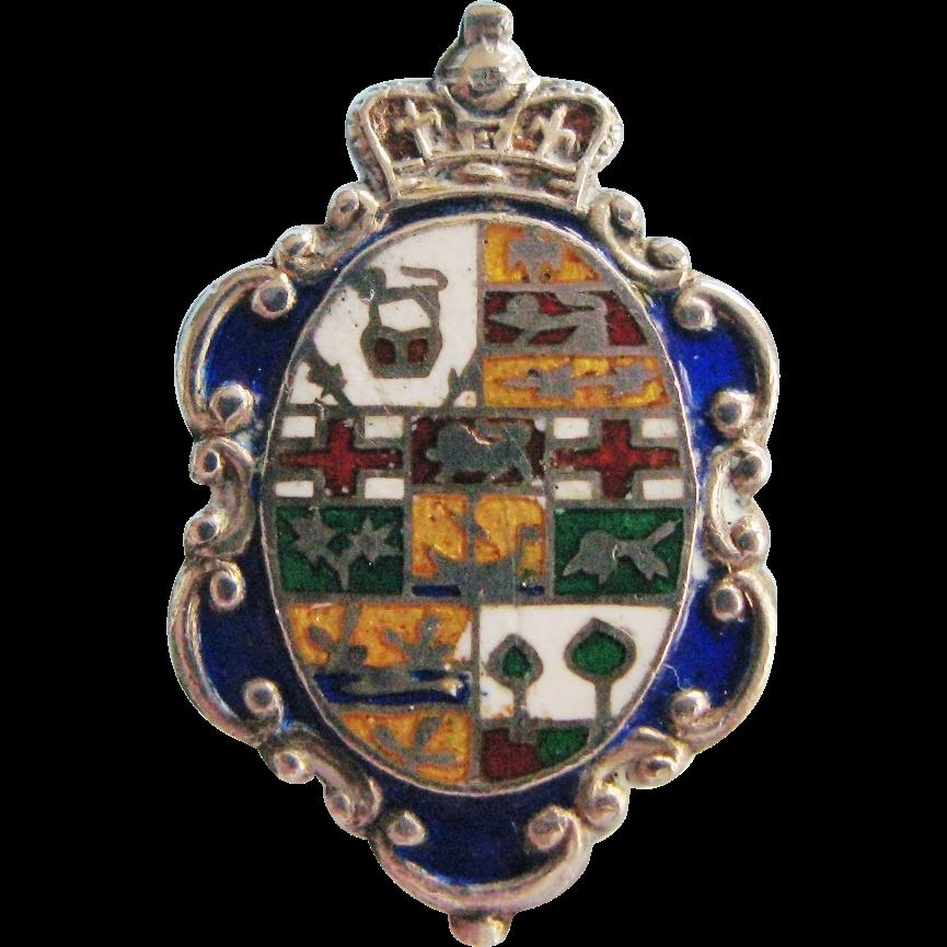 Antique Edwardian Hatpin Long Enameled Sterling Silver Coat of Arms Design