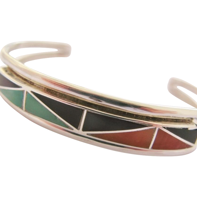 Native American Cuff Bracelet Inlay Sterling Silver Vintage Zuni