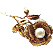 Vintage Rose Brooch Pearl 10K Gold Elegant Single Stem Floral Pin