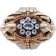 Antique Mourning Brooch Victorian Aquamarine  14 Karat Gold