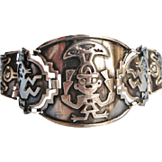 Vintage Peruvian Bracelet Wide Sterling Silver Niello Tribal Bracelet Native Inca Motifs