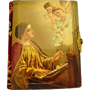 Victorian Celluloid Velvet Photo Album Woman Playing Harpsichord With Cherubs Angels Flowers