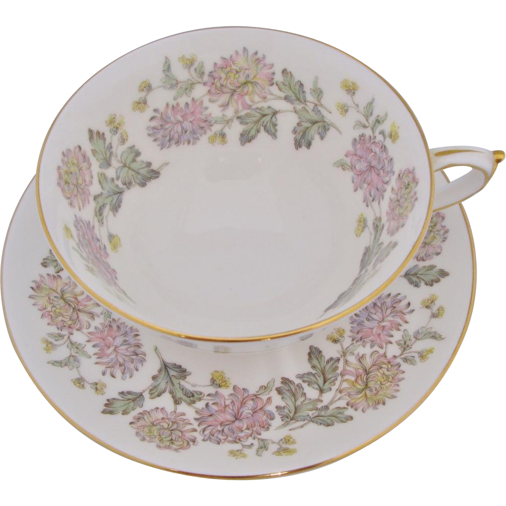 Vintage Paragon Chrysanthemum Cup And Saucer Sets Wispy Pastel Flowers