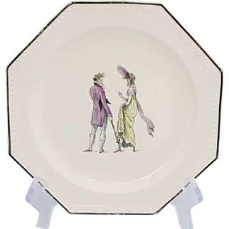 H.B.C.M. Rouard Early French Fashion Octaganal Plates Set of Nine